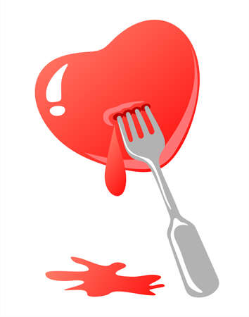 defenseless: Stylized heart  with fork and blood isolated over white background. Valentines illustration. Illustration
