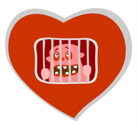 hopeless: Red stylized  heart  with prisoner isolated over white background. Valentines illustration. Illustration