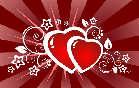 claret: Ornate hearts and flowers on a claret striped background. Valentines illustration.