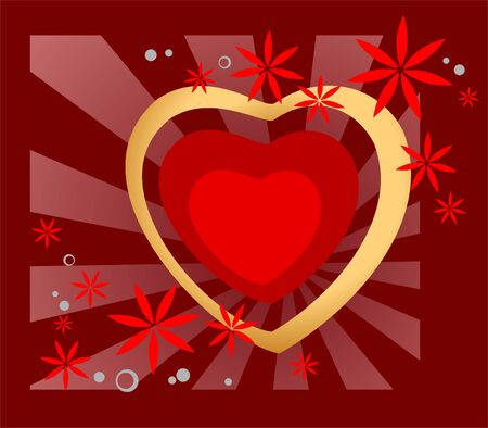 claret: Ornate heart and flowers on a claret striped background. Valentines illustration.