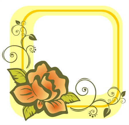 The yellow frame from the light stylized rose with decorative curves. Vector