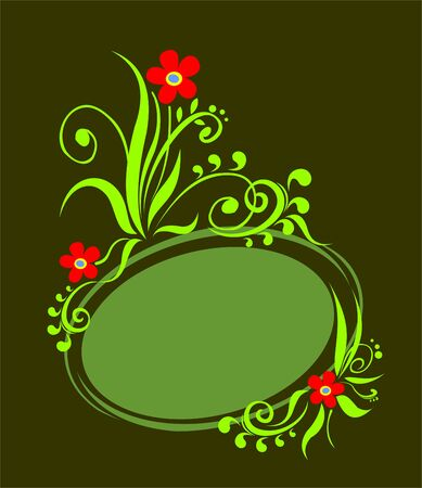 simplify: The green vegetative frame with red flowers on a black background. Illustration