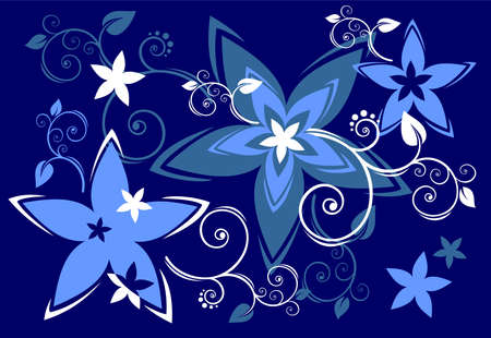 Blue flowers and curls on a dark blue background. Vector