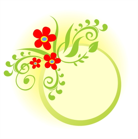 The frame from a green vegetative ornament with red flowers on a yellow background. Vector
