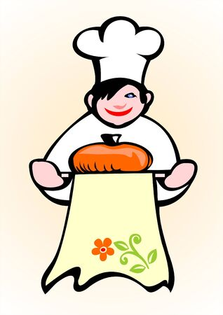 batch: The cook in a white dressing gown and a cap with a batch on a tray. Illustration