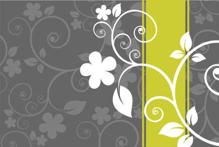 stylistic: Gray background with with light floral curls.