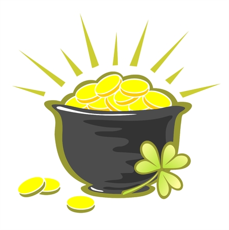 Pot with golden coins for St. Patricks Day. Celebratory illustration. Vector