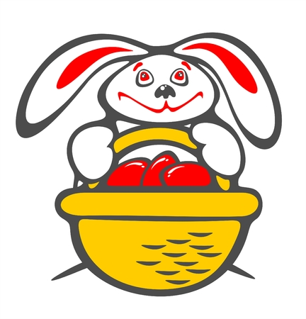 Happy  rabbit  with a basket of easter eggs on a white background. Easter illustration. Vector