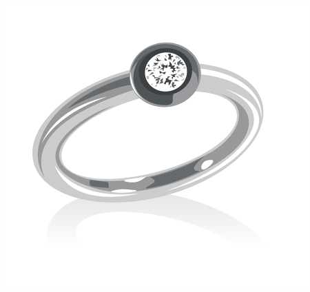 Ornate ring with a jewel on a white background.