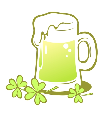 Ornate green beer with clover  isolated on a white background.  Illustration for St. Patricks Day. Vector