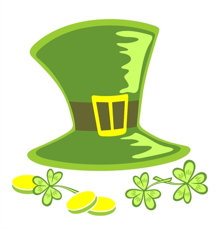 Green leprechaun  hat, clover and coins on a white background. Illustration for St. Patrick's Day Stock Vector - 2602081