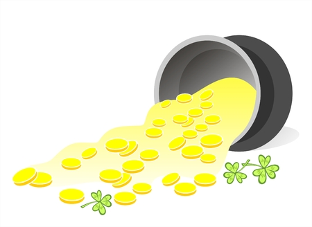Leprechaun gold and clover on a white background. Illustration for St. Patricks Day Vector