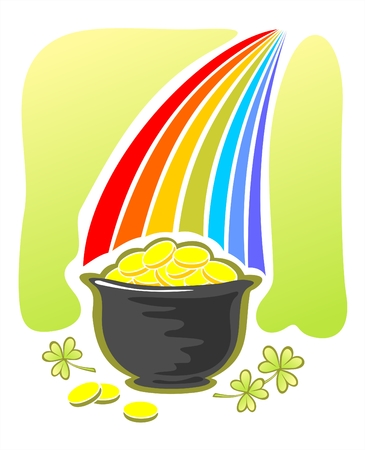 Leprechaun gold and rainbow. Illustration for St. Patricks Day Vector