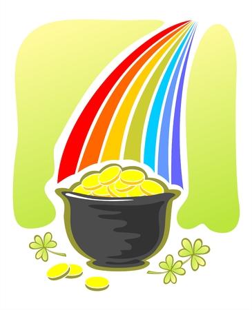 pot of gold: Leprechaun gold and rainbow. Illustration for St. Patricks Day