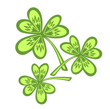 Stylized clover leaves on a white background. Illustration  for St. Patrick's Day. Stock Vector - 2602082