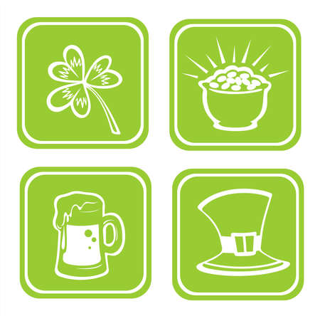 Four stylized symbols for St. Patrick's Day: pot, hat, clover and beer. Stock Photo - 2602072