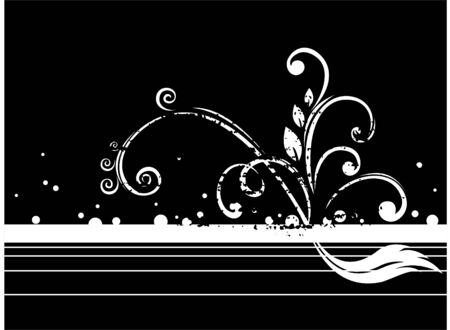 White vegetative ornament with circles and strips on a black background. Stock Vector - 2613586