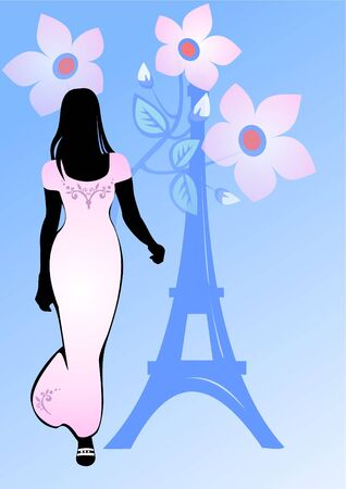 d'eiffel: Black silhouette of the girl in a pink dress on a blue background with flowers and Tour dEiffel. Stock Photo