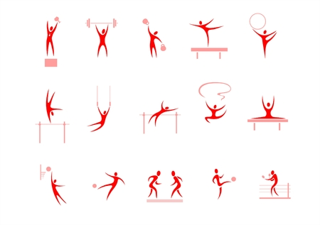 sports bar: Red symbolical images of various kinds of sports on a white background.