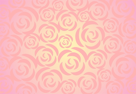 simplify: Ornament from decorative roses on a light pink background with effect of illumination.
