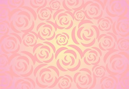 vereenvoudigen: Ornament uit decoratieve rozen op een licht roze achtergrond met ingang van verlichting. Stock Illustratie