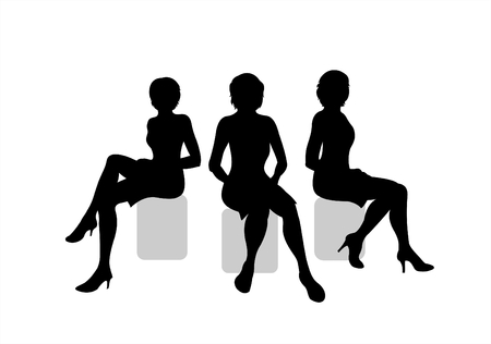picture person: Three black silhouettes of sitting women on a white background.