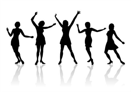 Five black female silhouettes in movement on a white background with shadows. Vector