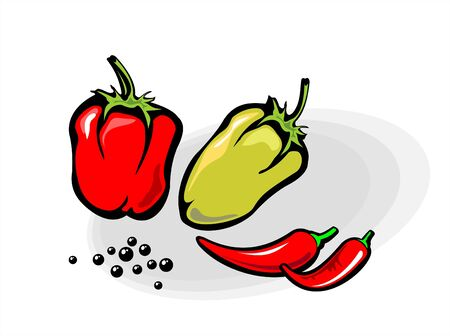 Pepper red, pepper sweet and pepper black on a white background. Vector