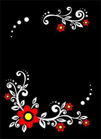 White decorative ornament with red flowers on a black background.