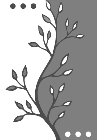 stylistic: Gray stylized floral background with leaves and dots. Illustration