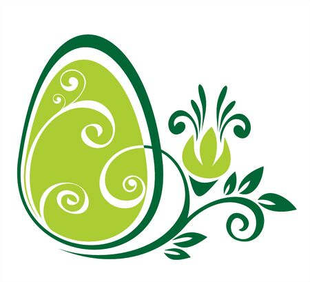 Easter egg and green flower pattern on a white background.