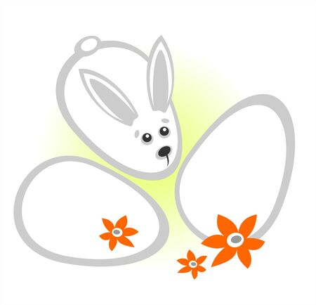 Ornate rabbit with easter eggs on a white background. Stock Vector - 2626537