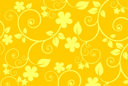 stylistic: Stylized  pattern with yellow flowers on a yellow background.
