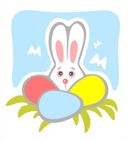 timid: Timid rabbit with easter eggs and butterflies on a blue background.