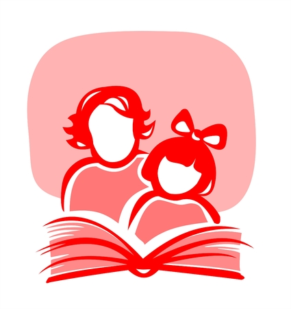 Red silhouettes of the girl and the woman, reading the book. Stock Vector - 2654981