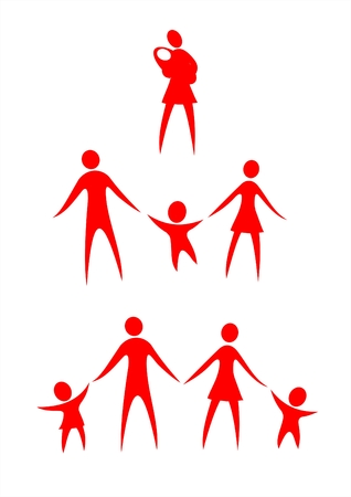 Red symbols of parents, children and women with the child on a white background.