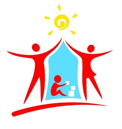 Roja símbolos de los padres y los niños jugando en un fondo blanco.  Ilustración de vector