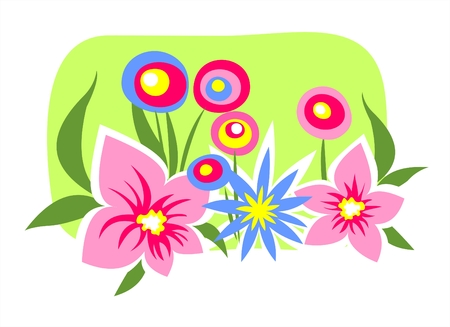 Multi-colored flowers on a green background. Vector