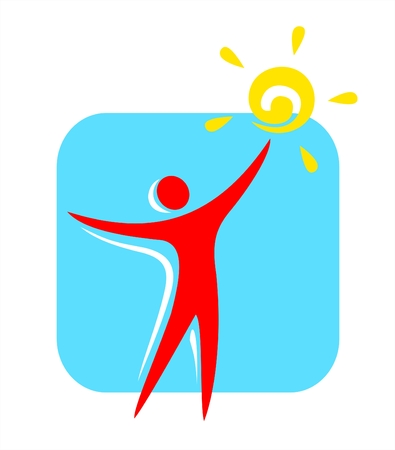 purposeful: Red silhouette of the person with the sun in a hand on a blue background.
