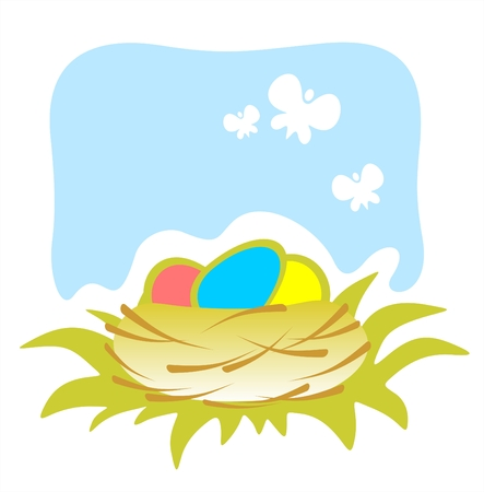Ornate basket with easter eggs and butterflies on a blue background. Stock Vector - 2660432