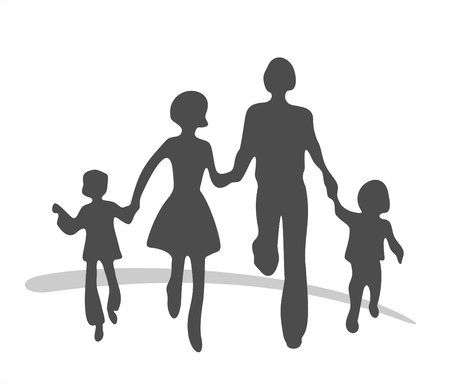 White silhouettes of the boy, the woman, the man and the girl on a red background.