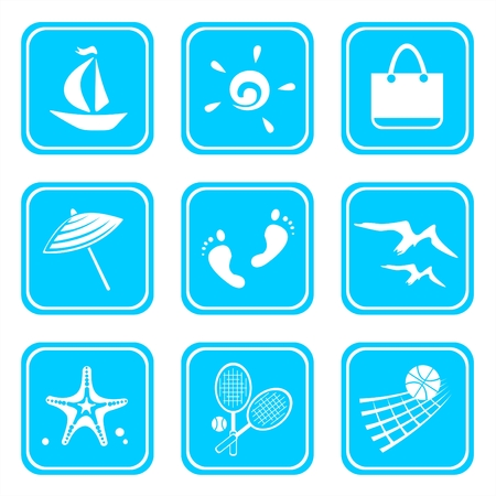 Nine symbols of rest isolated on a blue background. Vector