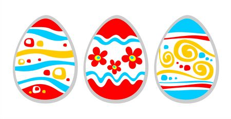 Three ornate easter eggs isolated on a white background. Vector