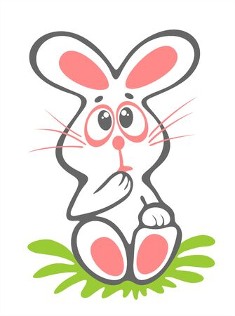 timid: Timid easter rabbit isolated on a white background. Easter illustration. Illustration