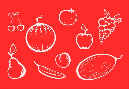 crunch: White fruit silhouettes on a red background. Illustration