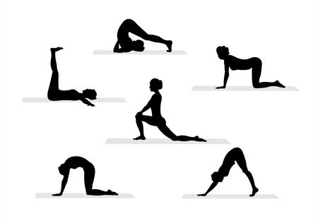 Zwarte yoga silhouetten op witte achtergrond.