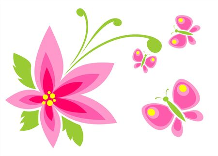Pink flower with butterflies on a white background.