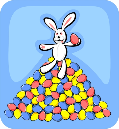 frisky: The rabbit sitting on a heap of multi-colored easter eggs.