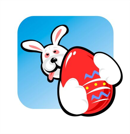 frisky: The rabbit with greater red easter egg in hands. Stock Photo