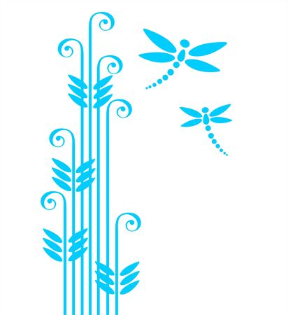 Blue ornate grass and two dragonflies isolated on a white background. Stock Vector - 2711823
